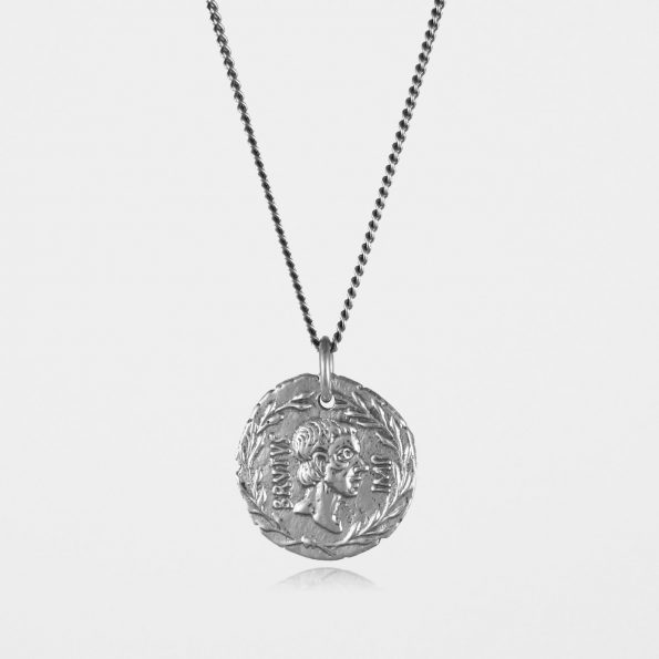 Brutus Coin Necklace Oxidised Silver
