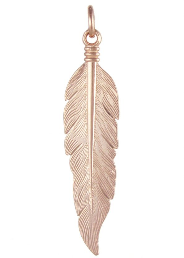 Large Feather Pendant Rose Gold Plated