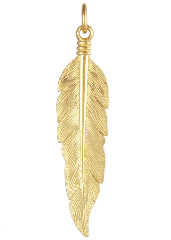Large Feather Pendant Gold Vermeil