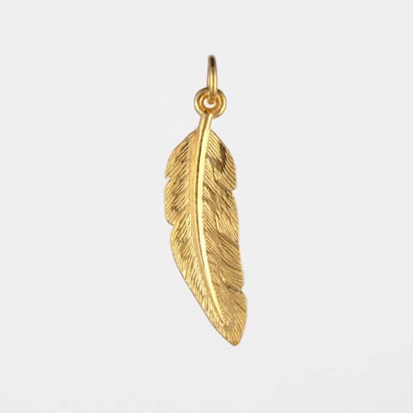 Feather Pendant Gold Vermeil