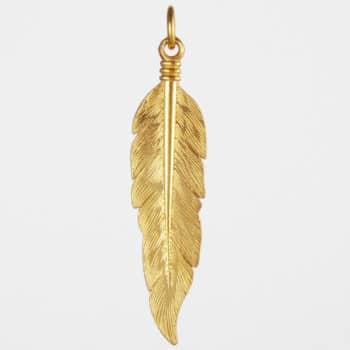 Large Feather Pendant Gold Vermeil