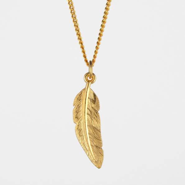 Feather Necklace Gold Vermeil