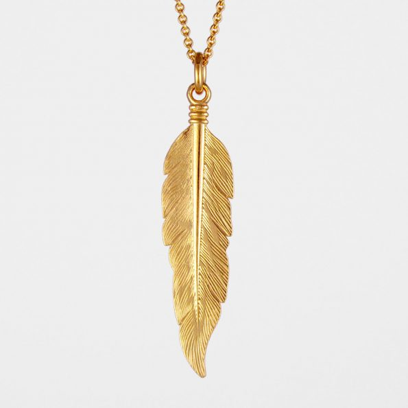 Large Feather Necklace Gold Vermeil