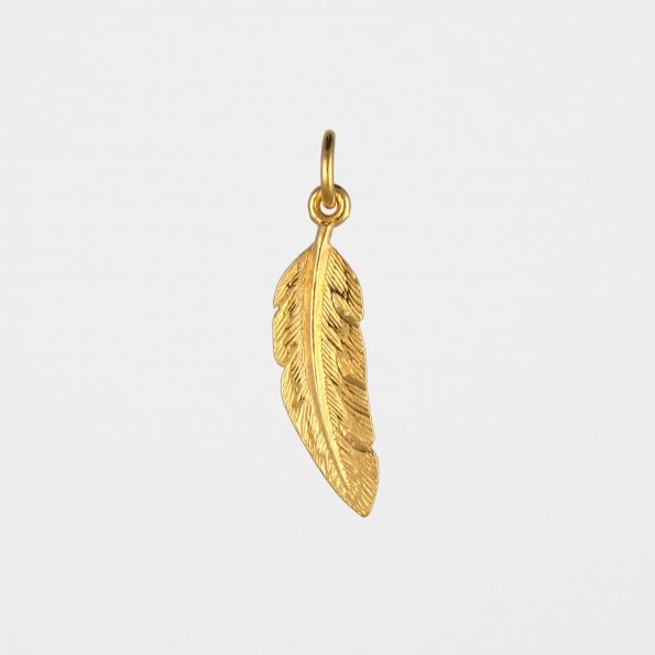Small Feather Pendant Gold Vermeil