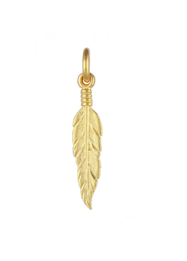 Small Feather Pendant Gold