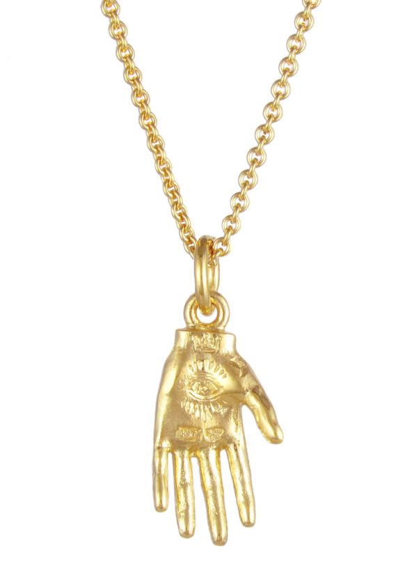 Small Hand of Mystery Necklace Gold Vermeil