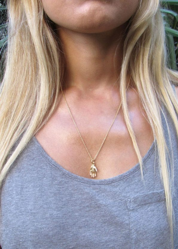 Small Hand Necklace Gold
