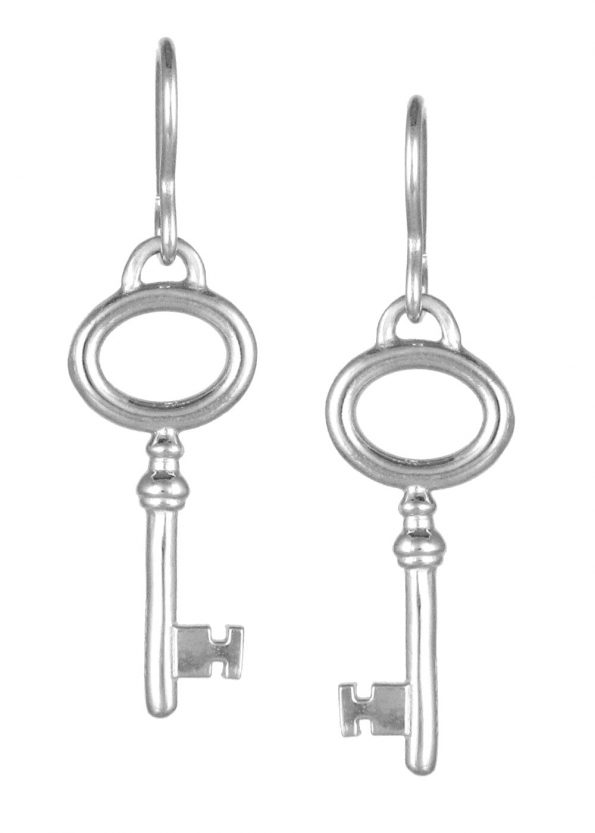 Key Earrings  Silver