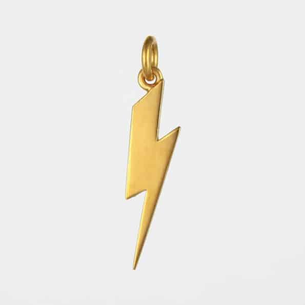 Long Lightning Bolt Pendant Gold Vermeil