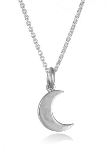 Small Moon Necklace Silver