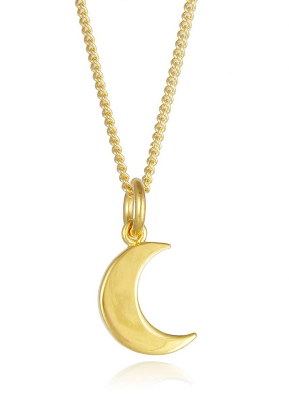 Small Moon Necklace Yellow Gold Plated