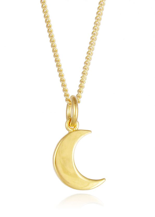 Small Moon Necklace Gold