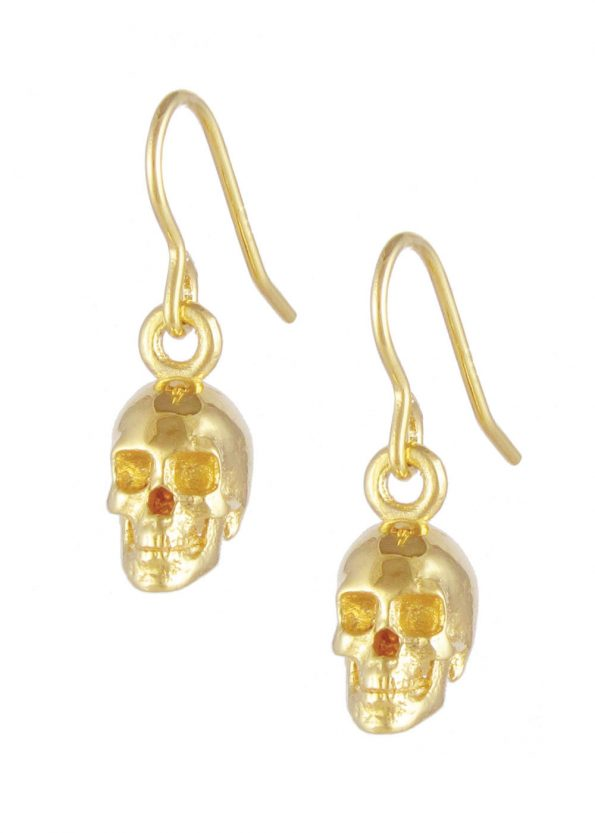 Skull Earrings Yellow Gold Plated