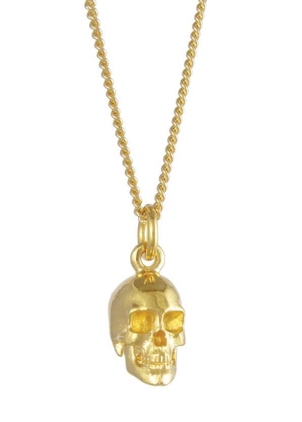 Large Skull Necklace Gold