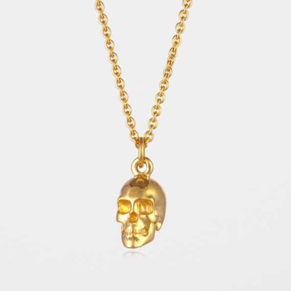 Large Skull Necklace Gold Vermeil