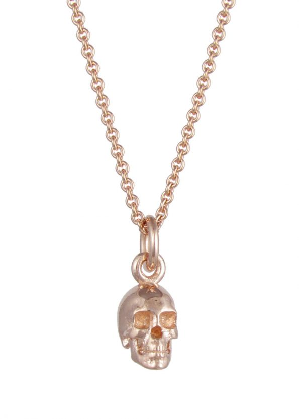 Small Skull Necklace Rose Gold