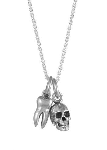 Tooth Skull Necklace Silver