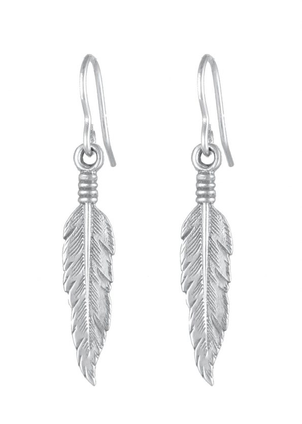 Feather Earrings Silver