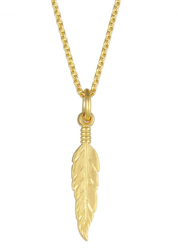 Small Feather Necklace Yellow Gold Plated