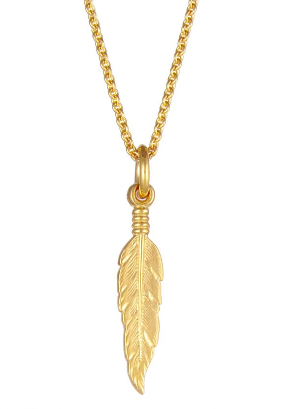 Small Feather Necklace Gold