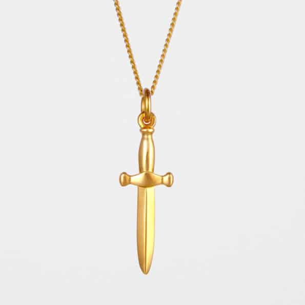 Dagger Necklace Gold Vermeil
