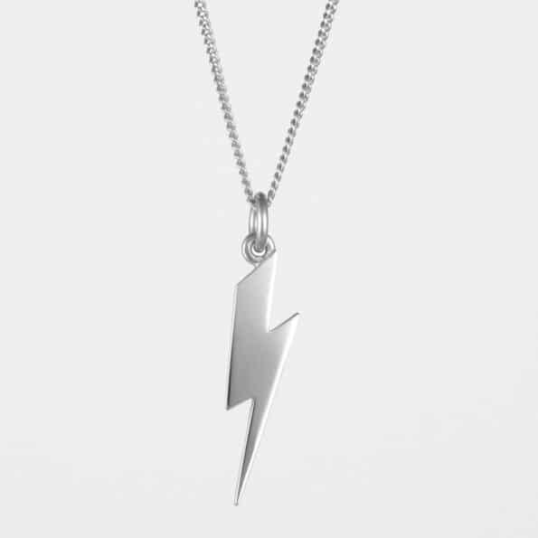 Long Lightning Bolt Necklace Silver