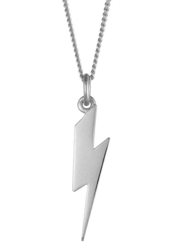 Lightning Bolt Necklace Silver