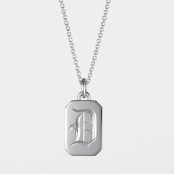 Initial Tag Necklace Silver