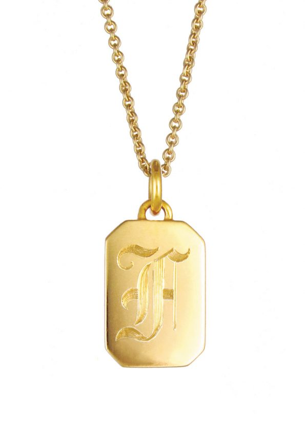 Initial Tag Necklace Gold