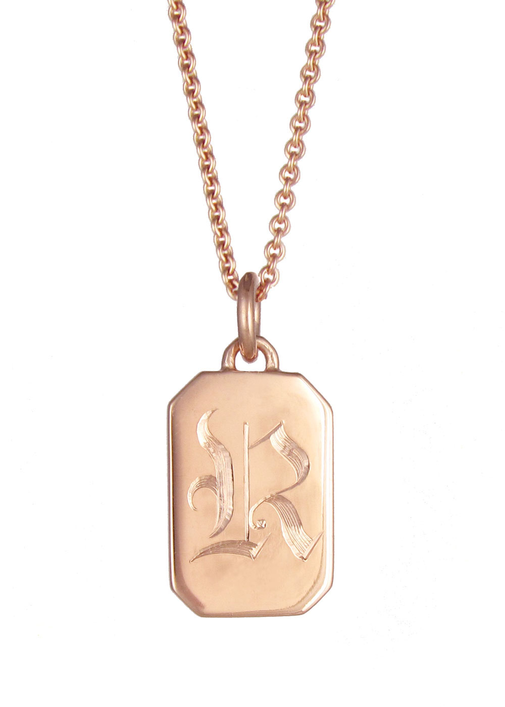 Excellent Initial Tag Necklace Rose Gold | Silver & gold plated pendants  LQ21