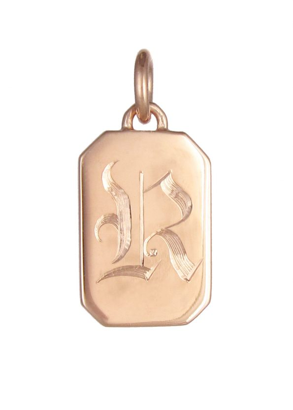 Initial Tag Pendant Rose Gold