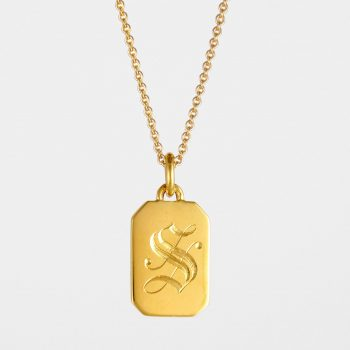 Initial Tag Necklace Gold Vermeil