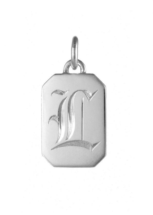 Initial Tag Pendant Silver