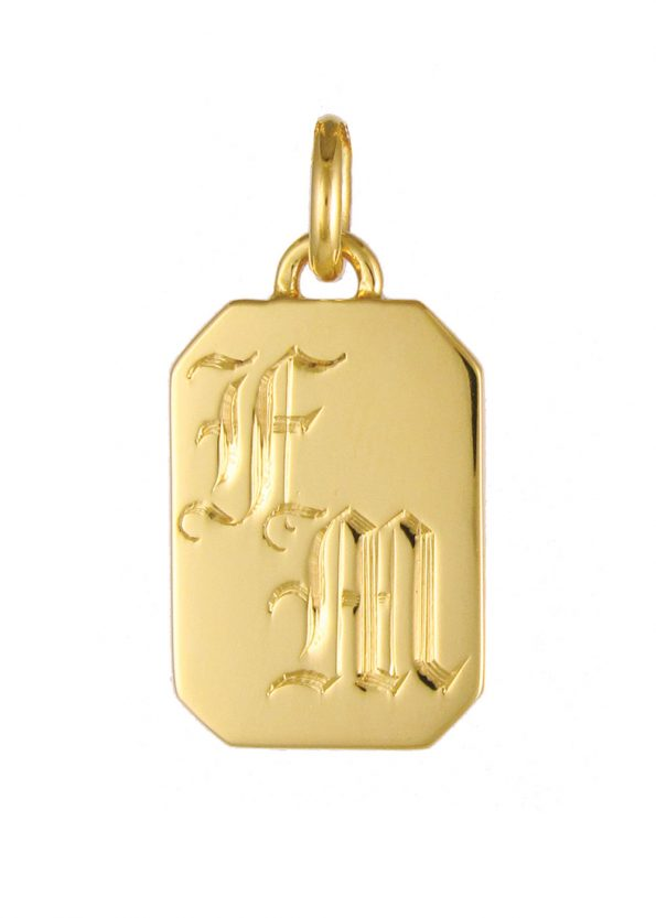 Initial Tag Pendant Gold