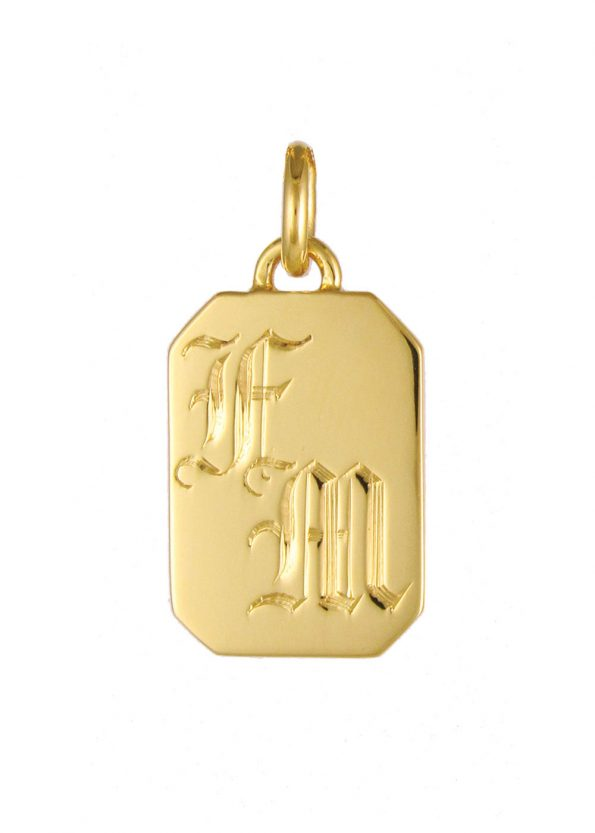 Initial Tag Pendant Gold Vermeil