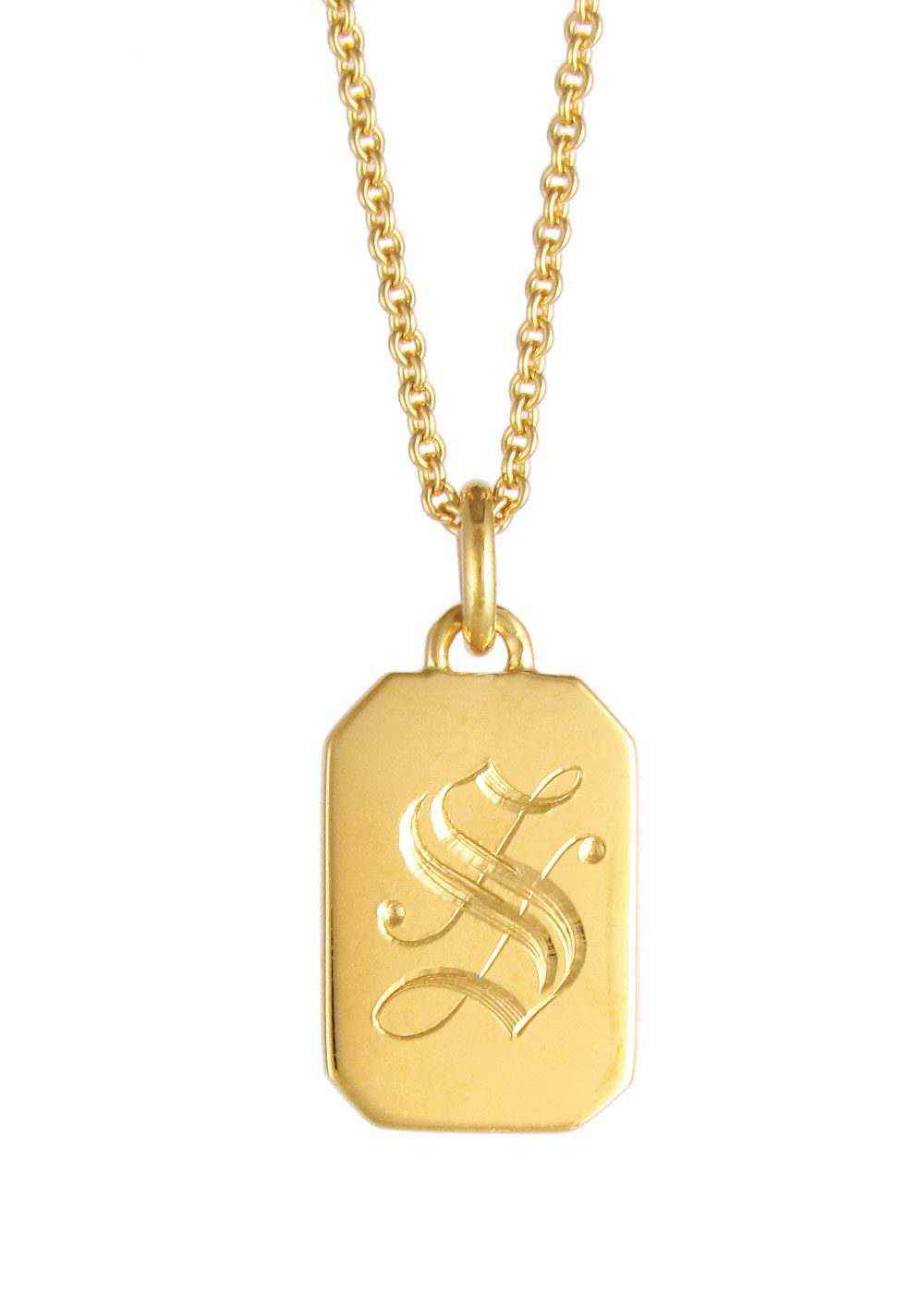 Favorite Initial Tag Necklace Gold | Silver & gold plated pendants  GC06