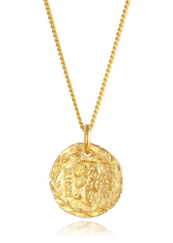 Brutus Coin Necklace Gold Vermeil
