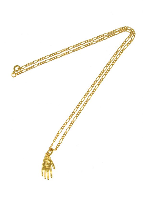 Hand of Mystery Figaro Necklace Gold Vermeil