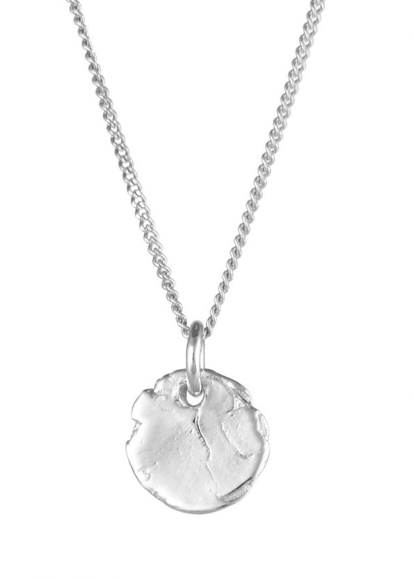 Textured Disc Necklace Silver