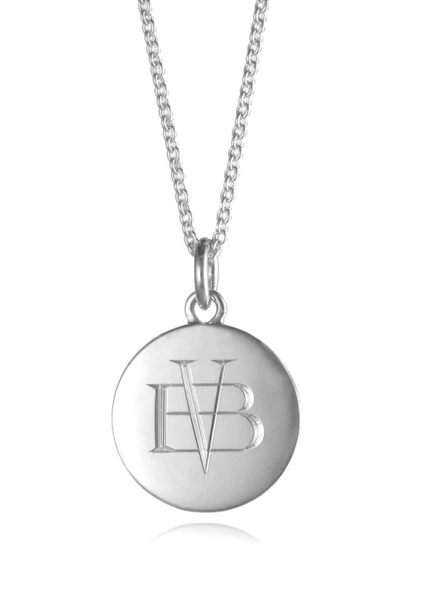 Monogram Disc Necklace Silver