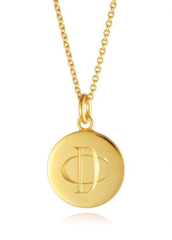 Monogram Disc Necklace Gold