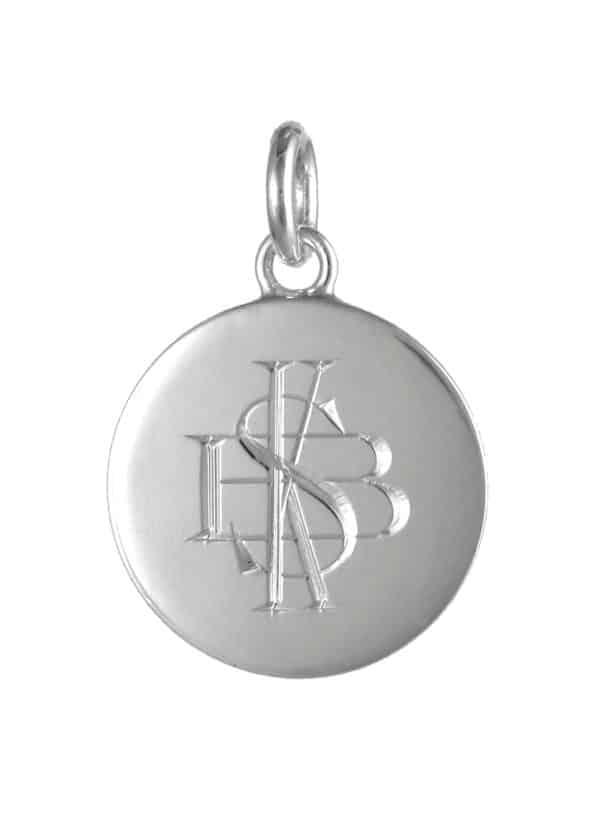 Monogram Disc Pendant Silver