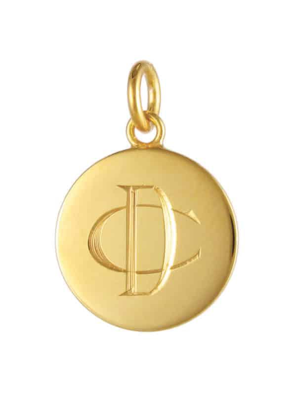 Monogram Disc Pendant Gold