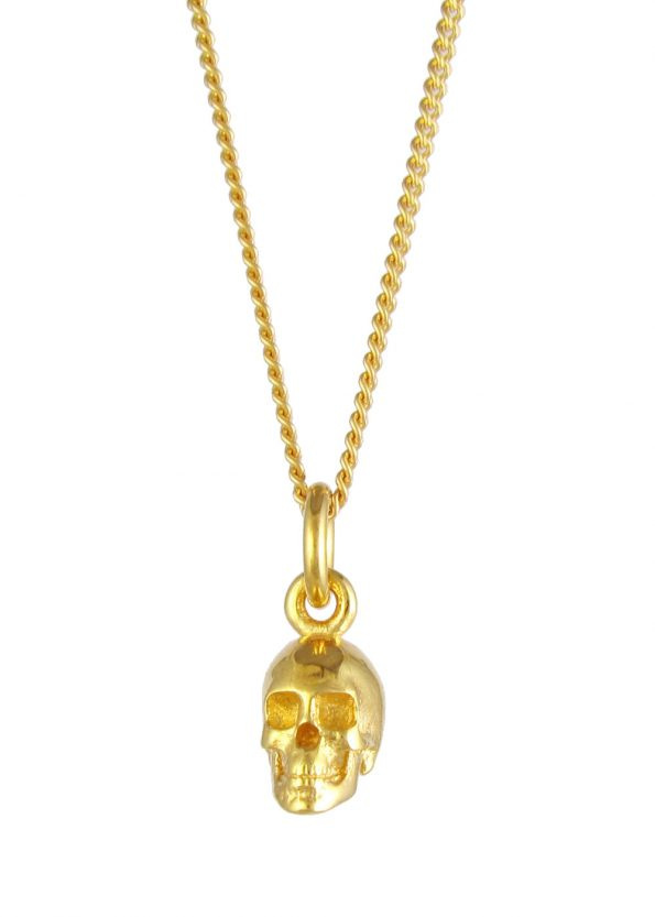 Small Skull Necklace Gold