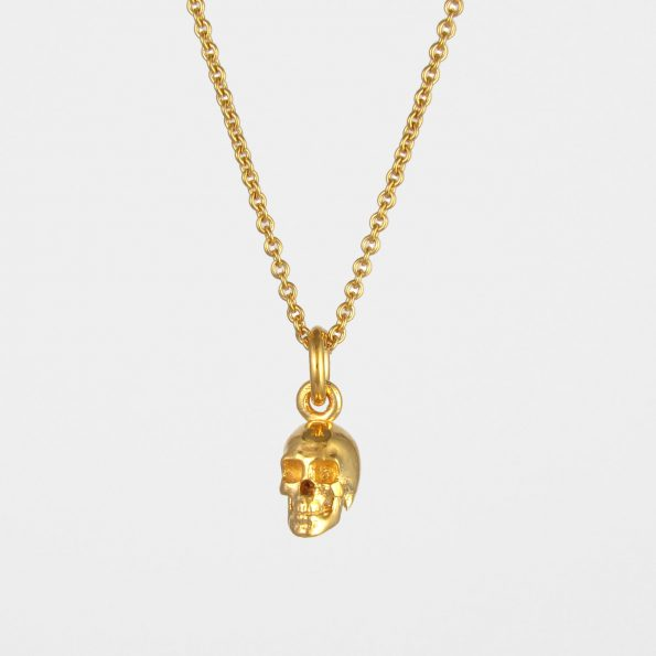 Small Skull Necklace Gold Vermeil