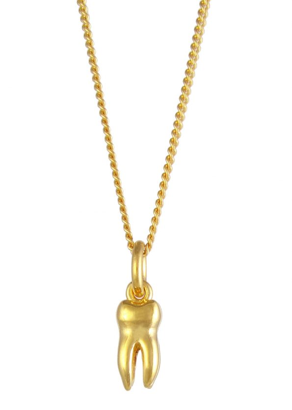 Small Tooth Necklace Gold Vermeil
