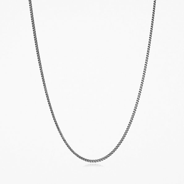 Fine Curb Chain Oxidised Silver