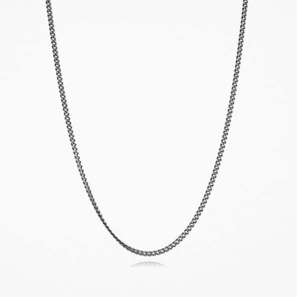 Medium Curb Chain Oxidised Silver