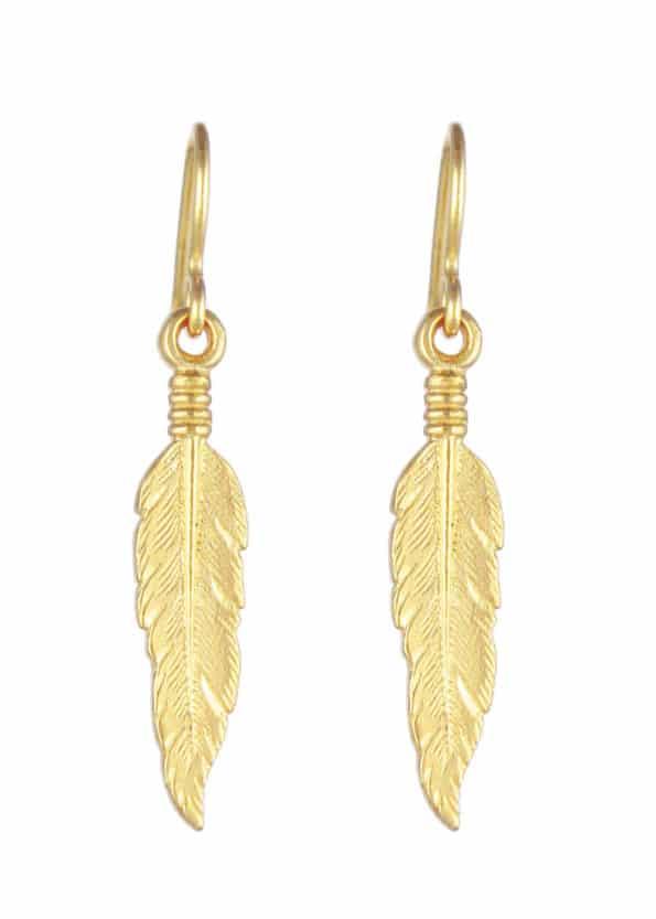 Feather Earrings Gold Vermeil