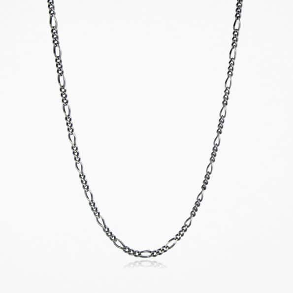 Figaro Chain Oxidised Silver